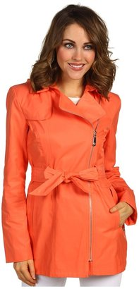 Vince Camuto Hooded Asymmetrical Zip Trench (Papaya) - Apparel