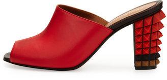 Fendi Leather Pyramid Stud-Heel Slide, Red/Brown