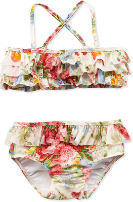 Ralph Lauren Floral-Print Two-Piece Swimsuit, White, Sizes 2T-3T