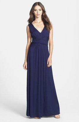 Three Dots V-Neck Jersey Maxi Dress