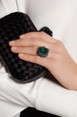 Lanvin Borneo gunmetal-tone Swarovski crystal ring