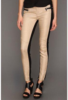 Blank NYC The Spray On Super Skinny Linen Black Beige in Fan Tan (Fan Tan) - Apparel