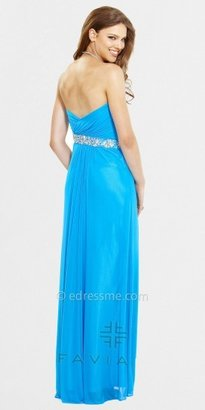 Faviana Strapless Beaded Stretch Mesh Evening Dresses