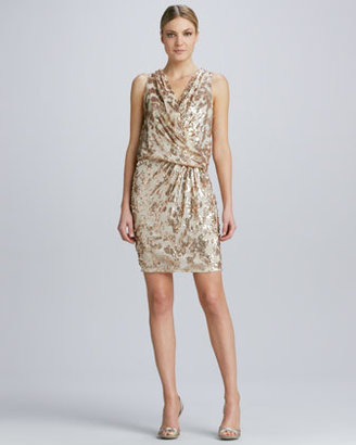 David Meister Draped & Sequined Cocktail Dress