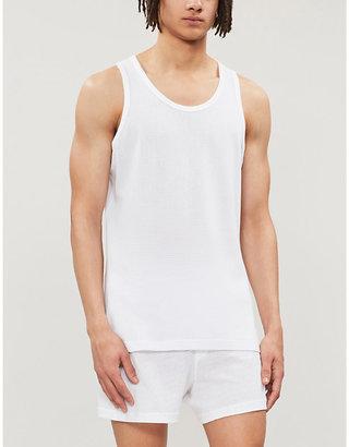 Sunspel Men's White Cotton Vest, Size: S