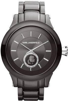 Karl Lagerfeld Unisex Gunmetal Ion-Plated Stainless Steel Bracelet Watch 45mm KL1207