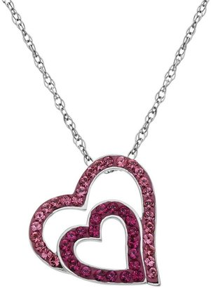 Artistique Sterling Silver Crystal Tilted Heart Pendant - Made with Swarovski Crystals