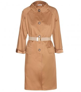 Miu Miu Cotton coat with elasticated belt