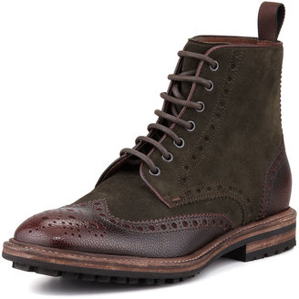 HUGO BOSS Lunno Suede & Leather Wing-Tip Ankle Boot, Green/Brown