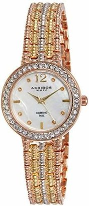 Akribos XXIV Women's AK757TRI Lady Multi-Tone Mother-of-Pearl Bracelet Watch