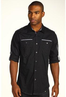 Ecko Unlimited L/S Poplin Shirt w/ Chambray Trim (Black) - Apparel