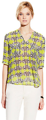 Vince Camuto Split Neck Tribal Maze Shirt