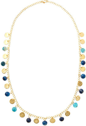Kenneth Jay Lane Golden Coin Necklace, Lapis