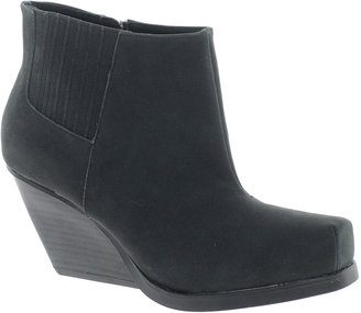 London Rebel Leather Outside Zip Ankle Boot