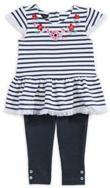 Tommy Hilfiger Girl's 2-Piece Stripe Floral Tunic Leggings Set