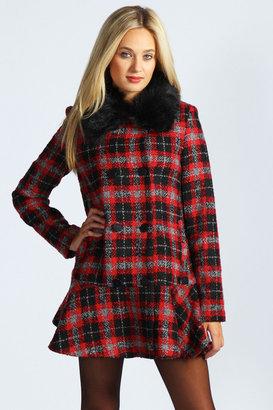 Boohoo Beth Boucle Checked Fur Collar Peplum Hem Coat