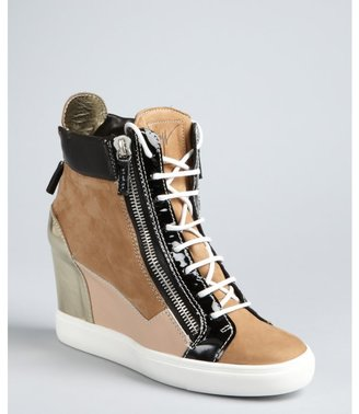 Giuseppe Zanotti khaki suede leather detailed lace-up hidden wedge high-top sneakers