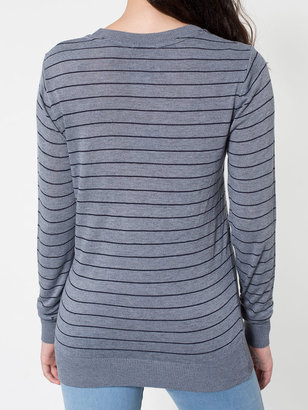 American Apparel Unisex Knit Thin Stripe Sweater Crew Neck