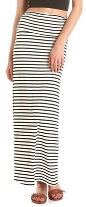 Charlotte Russe Fold-Over Waist Striped Maxi Skirt