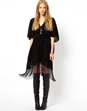 Asos Premium Kimono With Velvet Burnout - Black