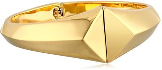 "Trina Turk Cubist House"" Gold Metal Pyramid Magnetic Bangle Bracelet"