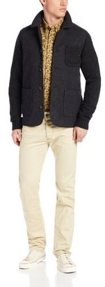 Ben Sherman Men's Plectrum Knitted Jacket with Quilted Melton Front