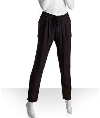 Joie caviar silk-blend 'Sayla' pleated drawstring pants