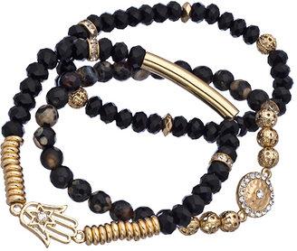 Blu Bijoux Hamsa Onyx Stretch Bead Bracelet Set