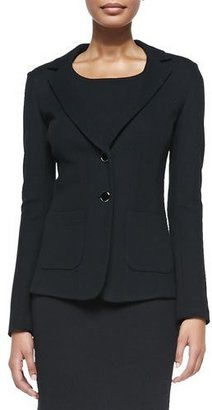 St. John Collection Milano Pique Knit Fitted Blazer, Caviar $1,195 thestylecure.com
