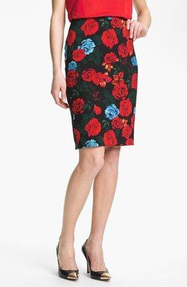 Vince Camuto Rose Print Pencil Skirt Rich Black 8