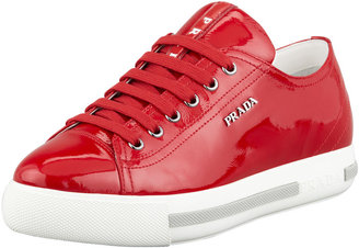 Prada Linea Rossa Patent Leather Flat Sneaker, Red