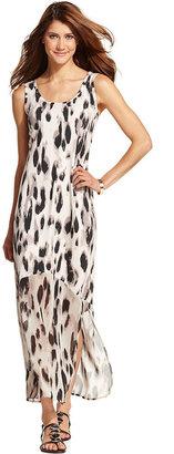 Style&Co. Animal-Print Chiffon-Hem Maxi Dress