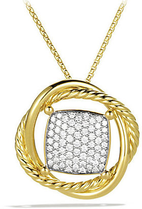David Yurman Infinity Medium Pendant with Diamonds in Gold on Chain
