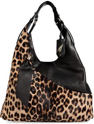 Diane von Furstenberg Leather/Haircalf Wrap Tote in Leopard