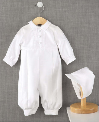 Lauren Madison Baby Romper, Baby Boys Full Length Christening Romper with Matching Hat $55 thestylecure.com