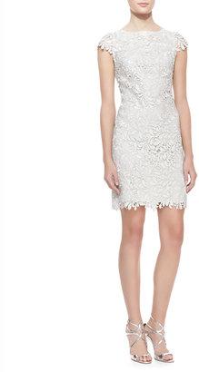 Alice + Olivia Clover Metallic Lace Open-Back Dress