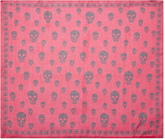 Alexander McQueen Printed Chiffon Skull Scarf in Red
