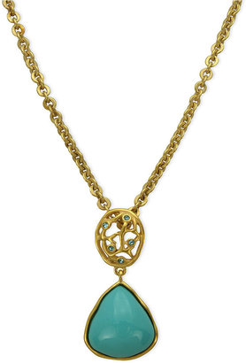 T Tahari Necklace, 14k Gold-Plated Turquoise Resin Pendant Necklace