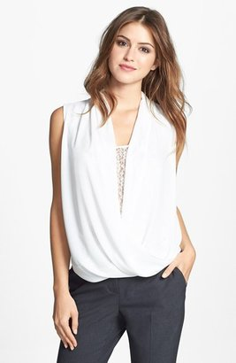 Vince Camuto Lace Inset Faux Wrap Front Shirttail Blouse (Online Only)