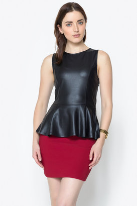 Timing Faux Leather Peplum Top