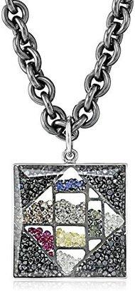 "Moritz Glik Kaleidoscope"" 18K White Gold Floating Color Diamonds and Color Sapphire Square Pendant Necklace"