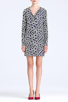Diane von Furstenberg Reina Dress In Stone Leopard Medium Blue