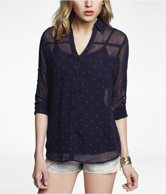 Express Heart Print Convertible Sleeve Portofino Shirt