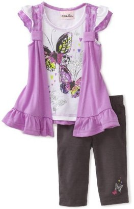 Little Lass Baby-Girls Infant 2 Piece Cozy Butterfly Cropped Legging Set