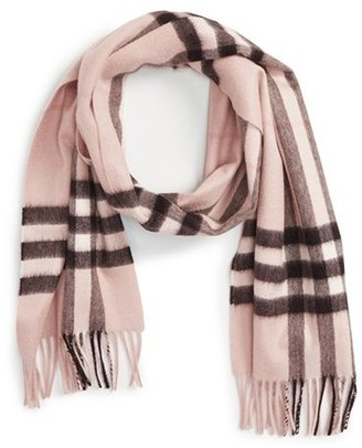 Women's Burberry Heritage Giant Check Fringed Cashmere Muffler $435 thestylecure.com