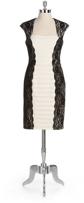 Jax Cap-Sleeved Pleated Panel And Lace Dress