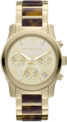 Michael Kors Mid-Size Tortoise Acetate and Golden Stainless Steel Runway Chronograph Watch