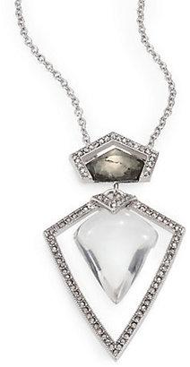 Alexis Bittar Pyrite Doublet, Lucite & Crystal Pendant Necklace