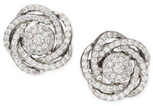 Wrapped in Love Wrapped in Love, 14k White Gold Diamond Pave Knot Earrings (1 ct. t.w.), Created for Macy's