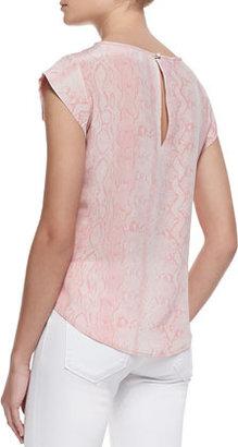 Joie Rancher Silk Snake-Print Cap-Sleeve Top